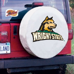 Wright State Tire Cover with Raiders Logo on White Vinyl