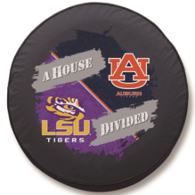LSU - Auburn House Divided Spare Tire Cover on Black Vinyl