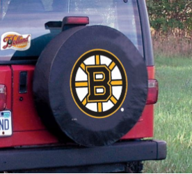 Boston Tire Cover with Bruins Logo on Black Vinyl