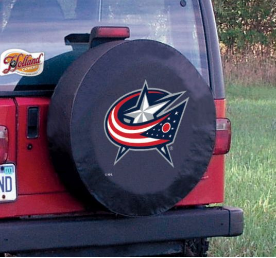Columbus Tire Cover with Blue Jackets Logo on Black Vinyl