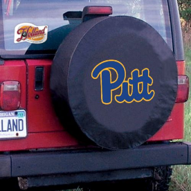 Pittsburgh Tire Cover with Panthers Logo on Black Vinyl