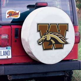 Western Michigan Tire Cover with Broncos Logo on White Vinyl