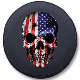 American Flag Skull Tire Cover