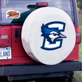 Creighton Tire Cover with Bluejays Logo on White Vinyl