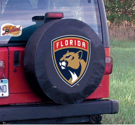 Florida Tire Cover with Panthers Logo on Black Vinyl