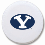 Brigham Young Cougars White Spare Tire Cover By HBS