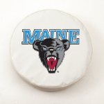 Maine Black Bears White Spare Tire Cover By HBS