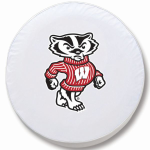 Wisconsin Bucky Badgers White Spare Tire Cover By HBS