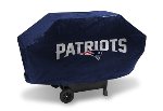 New England Grill Cover with Patriots Logo on Blue Vinyl - Deluxe