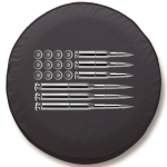 American Flag Ammo Tire Cover on Black Vinyl