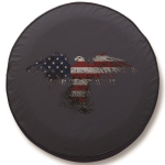 American Flag Eagle Outline Tire Cover on Black Vinyl