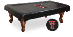 Texas Tech Pool Table Cover w/ Red Raiders Logo - Black Vinyl