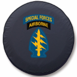 Army Special Forces Airborne Tire Cover Logo on Black