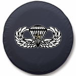 Paratrooper Tire Cover on Black Vinyl