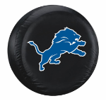 Detroit Tire Cover with Lions Logo on Black Vinyl - Large