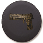 Ezekiel 25 17 Desert Eagle Tire Cover on Black Vinyl