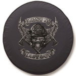 First In Last Out Tire Cover on Black Vinyl