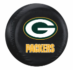 Green Bay Tire Cover with Packers Logo on Black - Standard