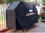 Connecticut Grill Cover with Huskies Logo on Black Vinyl