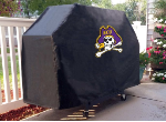 East Carolina Grill Cover with Pirates Logo on Black Vinyl