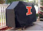 Illinois Grill Cover with Fighting Illini Logo on Black Vinyl