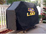 LSU Grill Cover with Tigers Logo on Black Vinyl