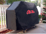 Ole Miss Grill Cover with Rebels Logo on Black Vinyl