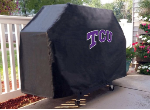 Texas Christian Grill Cover with Horned Frogs Logo on Black Vinyl