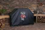 Wisconsin Grill Cover with Badgers Bucky Logo on Black Vinyl
