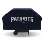 New England Grill Cover with Patriots Logo on Blue Vinyl - Economy