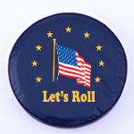 American Flag Lets Roll Tire Cover on Blue Vinyl
