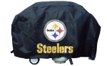 Pittsburgh Grill Cover with Steelers Logo on Black Vinyl - Deluxe