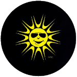 Sun Lover Tire Cover on Black Vinyl