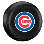 Chicago Tire Cover with Cubs Logo on Black Vinyl - Large