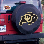 Colorado Tire Cover with Buffaloes Logo on Black Vinyl