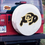 Colorado Tire Cover with Buffaloes Logo on White Vinyl