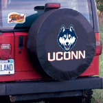 Connecticut Tire Cover with Huskies Logo on Black Vinyl