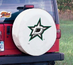 Dallas Tire Cover with Stars Logo on White Vinyl
