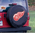 Detroit Tire Cover with Red Wings Logo on Black Vinyl