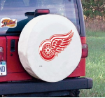 Detroit Tire Cover with Red Wings Logo on White Vinyl