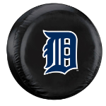 Detroit Tire Cover with Tigers Logo on Black Vinyl - Large