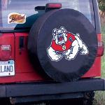 Fresno State Tire Cover with Bulldogs Logo on Black Vinyl
