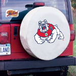 Fresno State Tire Cover with Bulldogs Logo on White Vinyl