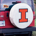 Illinois Fighting Illini Tire Cover on White Vinyl