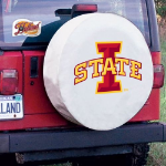 Iowa State Tire Cover with Cyclones Logo on White Vinyl