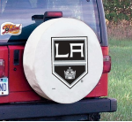 Los Angeles Tire Cover with Kings Logo on White Vinyl