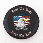Live To Ride Spare Tire Cover on Black Vinyl