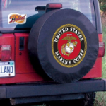 United States Marines Tire Cover on Black Vinyl