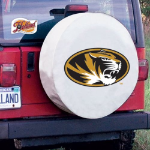 Missouri Tire Cover with Tigers Logo on White Vinyl