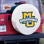 Marquette Tire Cover with Golden Eagles Logo on White Vinyl